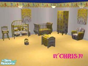Sims 2 — Nursery Butterfly by chrisfp — A yellow nursery with butterfly! Set contains: crib, change table, baby chair,