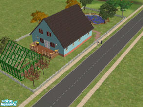 Sims 2 — 12 Danny Drive by Cali95678 — Very simple country type house with 3 bedrooms and 2 bath, greenhouse and fishing