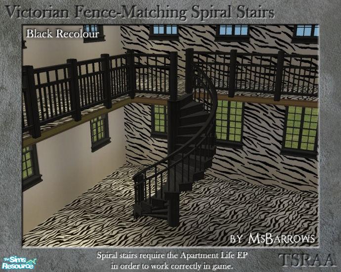 Msbarrows 39 victorian spiral stairs black recolour for Victorian spiral staircase