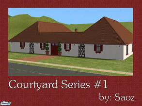 Sims 2 — Courtyard Series #1 by Saoz — Courtyard living has come to the Sims. This charming home is fully furnished and