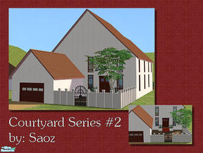 Sims 2 — Courtyard Series #2 by Saoz — A spacious two-story home with a front courtyard and attached garage. Includes a