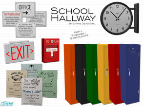 Sims 2 — School Hallway: Part I by Living Dead Girl — Includes seamlessly tiling lockers, exit sign, fire alarm, flyers,