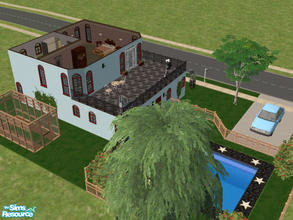 Sims 2 — Corkys Place by Cali95678 — Cute little 2 story house with Bedroom and 1 Bath, Pool and Greenhouse. All skills.