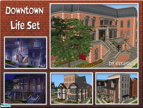 Sims 2 — Downtown Life Set by estatica — Now your sims will never need to live isolated again! Includes 7 downtown