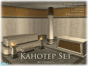 Sims 2 — Kahotep Set by estatica — Now your mummies can have a resting place to spend all eternity. Includes 3 new low