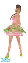 Sims 1 — Chartreuse Pink Mini Dress by prettyhunny — Fresh from the fashion catwalk! Cute pink mini dress with green net