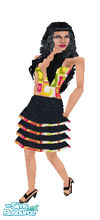 Sims 1 — Color N Ruffles by prettyhunny —  Black Ruffly skirt with Colorful top fit for the dancing sim! With head.