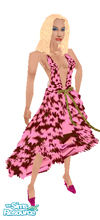 Sims 1 — Floral Evening Wear by prettyhunny — Black dress with pink floral prints. It\'s time to paint the town black and