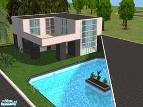 Sims 2 — Heather Lane by Lil-Kiki — This modern home comes complete with a double garage, Conservatory, Half covered Pool