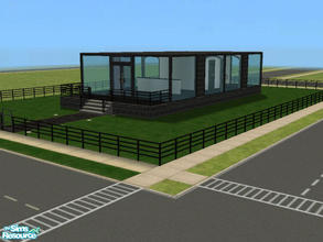 Sims 2 — Modern Glass House by kattmc3 — A small glass house with one bedroom,one bathroom.Large yard and kitchen.MAXIS