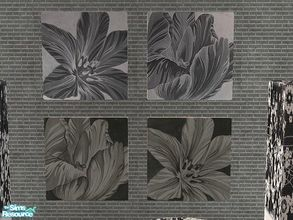 "Sims 2 — Black and white floral prints by selina012 — Floral recolours of ""A Stroke by Alfred D\'Simvo\"" wall"