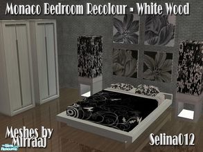 Sims 2 — Monaco Bedroom in White Wood by selina012 — Recolour of Mirraaj\'s Monaco Bedroom in white wood. Set consists of