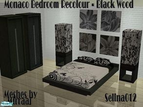 Sims 2 — Monaco bedroom in Black Wood by selina012 — Recolour of Mirraaj\'s Monaco Bedroom in black wood. Set consists of
