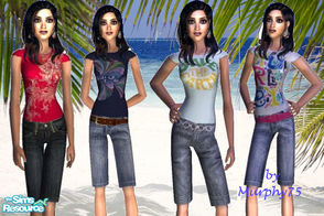 Sims 2 — Trendy Teen Tee & Short Set by Murphy75 — A new collection of teen tee & jean short!