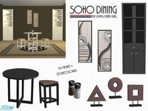 Sims 2 — Soho Dining by Living Dead Girl — Includes round and diamond shaped tables, round and diamond shaped stools,