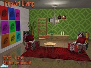 "Sims 2 — TC126 Pop Art Livingroom by selina012 — Made for the texture challeng 126. Meshes are the ""Spritio"