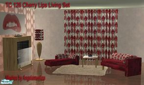"Sims 2 — TC 126 - Cherry Lips Living by selina012 — Made for the texture challenge 126. Meshes are the ""All White"