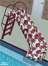 Sims 2 — tams tc 126 pool set - Slide For Tc 126 by tambriah — red tiger stripe patterned ladder with eating cherries
