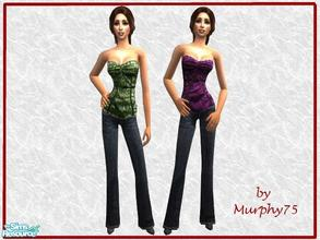 Sims 2 — Colorful Tube Top & Jeans - 3 by Murphy75 — Colorful tube top & jeans for adult sims!