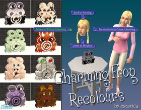 Sims 2 — Charming Frog Recolours by estatica — Set includes 8 silly recolours for the Charming Frog. Don\'t forget to