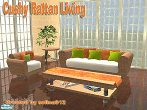 Sims 2 — Cushy Rattan Living by selina012 — This is my first new mesh set. Set consists of Loveseat, chair, coffee table