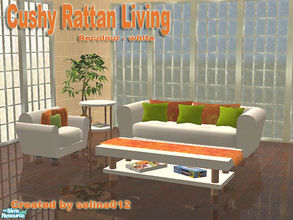 Sims 2 — Cushy Rattan Recolour  by selina012 — A white recolour of my Cushy Rattan Living set.
