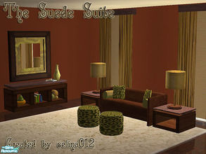 Sims 2 — The Suede Suite by selina012 — New mesh. Living room suite consisting of Loveseat, ottoman, endtable, sideboard,