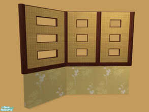 Sims 2 — Tane Dining - Red Wood Half-Wall - Mesh by Shakeshaft — Part of a recolour of the Tane Dining set,with recolours