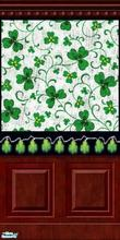 Sims 2 — Patrick Lights by SimonettaC — A lovely Lucky Clover wallpaper set against a border of Clover shaped twinkie