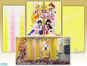 "Sims 2 — Tgm-Wallpaper Set-06 by TugmeL — For child and teen bedrooms, ""Sailor Moon\"" pattern wallpaper!!"