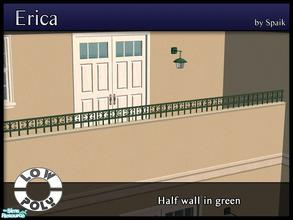 Sims 2 — Erica Half Wall in Green by Spaik — Half Wall with a wrought iron curvy rim, perfect for a porch or terrace.