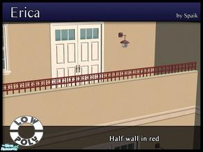 Sims 2 — Erica Half Wall in Red by Spaik — Half Wall with a wrought iron curvy rim, perfect for a porch or terrace. Part