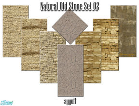 Sims 2 — Natural Old Stone Set 02 by ayyuff — Cost:2