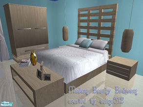 Sims 2 — Modern beachy bedroom set by selina012 — New mesh set including bed, endtable, table, lamp and armoire.