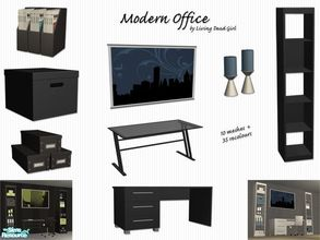 Sims 2 — Modern Office by Living Dead Girl — Set consisting of two desks, three file boxes, a magazine file box