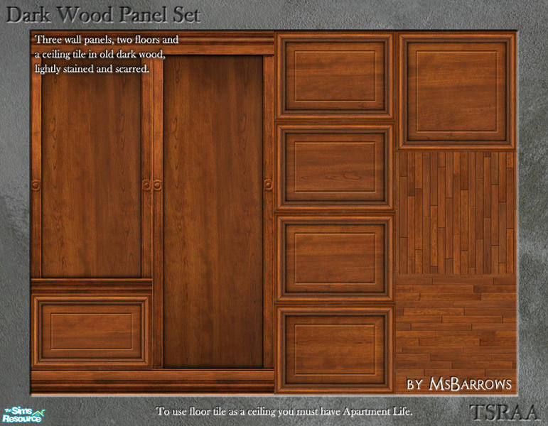 Msbarrows 39 Dark Wood Panel Set