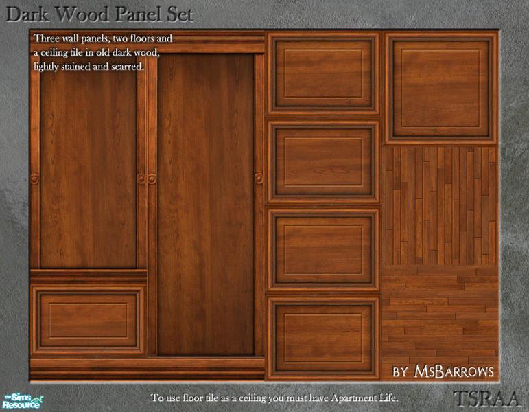 msbarrows 39 dark wood panel set. Black Bedroom Furniture Sets. Home Design Ideas