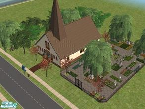 Sims 2 — Honoria\'s Church by KatieKing — Lot size 40x40 $167,452 Church has 6 pews, a piano, altar, wedding arch,