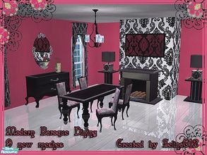 Sims 2 — Modern Baroque Dining by selina012 — A new set containing 9 new meshes, 2 maxis recolours, 2 walls and a floor.