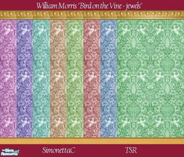 Sims 2 — Bird on the Vine jewels by SimonettaC — One of my favourite William Morris designs. Created in vibrant jewel