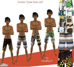 Sims 2 — Surfin\' Tyme for Teens - SR5 by Murphy75 — New for summer! Swimshorts for teen males!