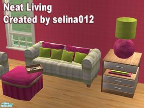 Sims 2 — Neat Living by selina012 — A new Living set consisting of 5 meshes. Sofa, coffee table, end table, lamp and deco