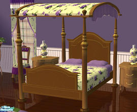 Sims 2 — Violet Bedroom Bed by lisa9999 — Light wood victorian bed.