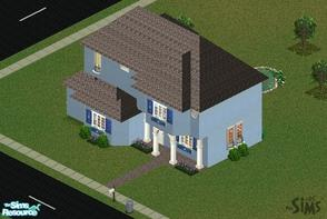 Sims 1 — Summer Blue Cottage by mol924 — This lovely blue cottage is fully furnished and has a little landscaping. The