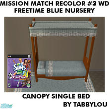 Sims 2 — TL - MM FTBlue SingleBedFrame Recolor03Wd by TabbyLou — Recolor of FreeTime Classic Baby\'s Touch Bed Frame