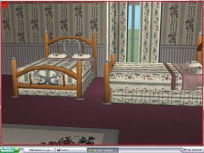 Sims 2 — Hillsdale Bedroom - green floral - double bed by ead425 —