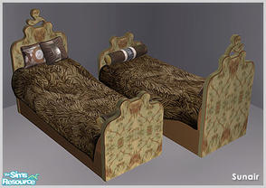 Sims 2 — Sunair T719 NCM Single Bed (darkwood) by Sunair — Sunair T719 NCM Single Bed (darkwood) of NCM Bedroom - Recolor