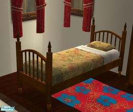Sims 2 — Warry Gypsy Camp Furniture Bed by lisa9999 — A single bed crafted from maple with a single matress.