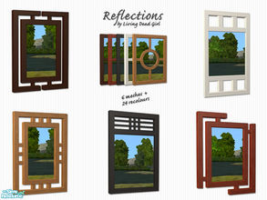 Sims 2 — Reflections: Modern Mirrors by Living Dead Girl — Six mirror meshes and 24 recolours in black, white, light