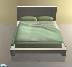 Sims 2 — Minimalistic Bedroom white - Bed with green cover by ShinoKCR —